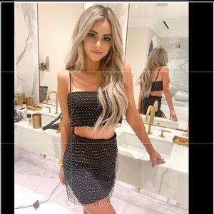 NBD Beverly Mini Skirt & Crop Top in Black